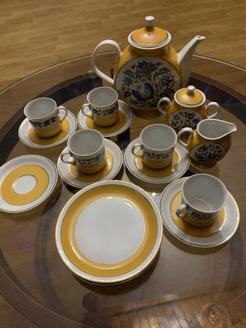 Serwis kawowo-deserowy, porcelana Lubiana