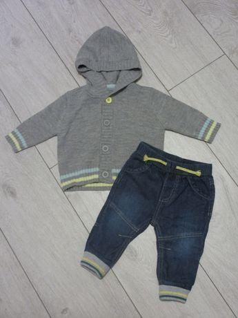 Komplet: sweterek i jeansy 62-68
