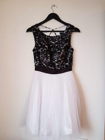 Biało czarna sukienka rozmiar 38 M wesele