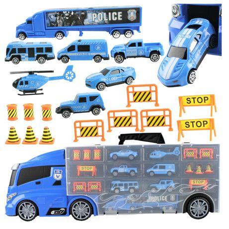 Duża ciężarówka policyjna ze schowkiem na resoraki oraz zjeżdżalnią