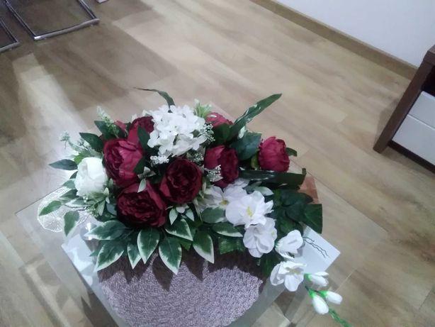 Kompozycja na grób, kwiaty sztuczne, Dzień Babci i Dziadka, super cena