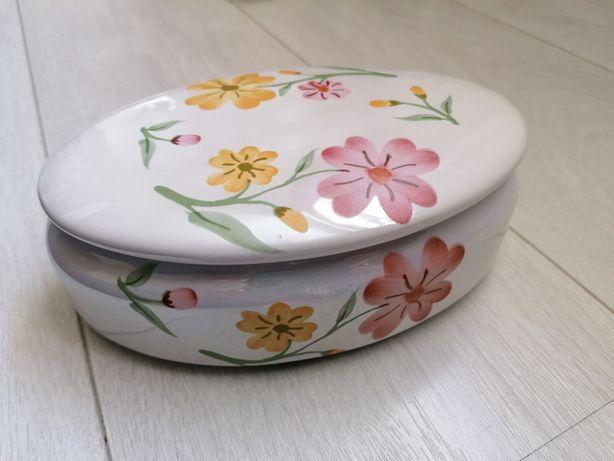 Caixa de toilette c flores cerâmica 1960s -brilho pérola /casca cebola