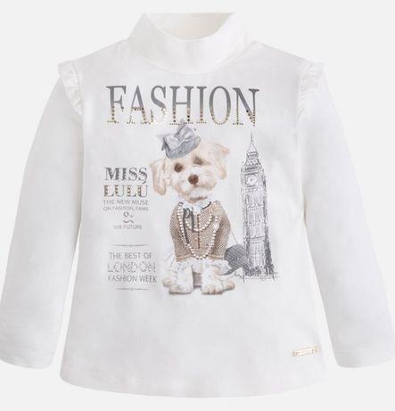 Mayoral 110 koszulka bluzeczka piesek beż bluzka