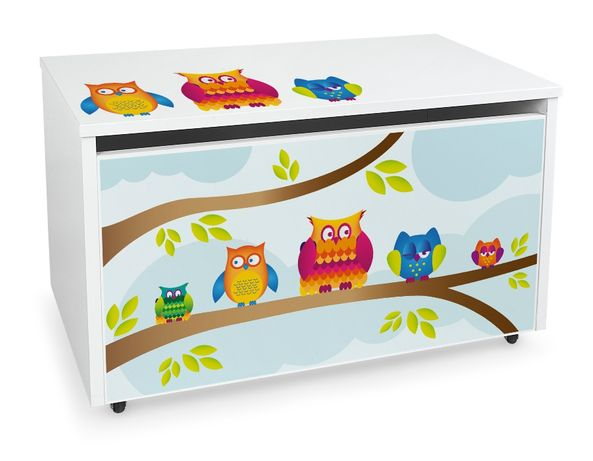 Duża drewniana skrzynia na zabawki XXL na kółkach Motyw: Sowy