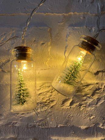 Гирлянда с ёлочкой в снегу в стекле