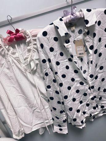 Рубашка белая Zara, Ostin xs в горох с биркой, блузка h&m xs-s 32-34