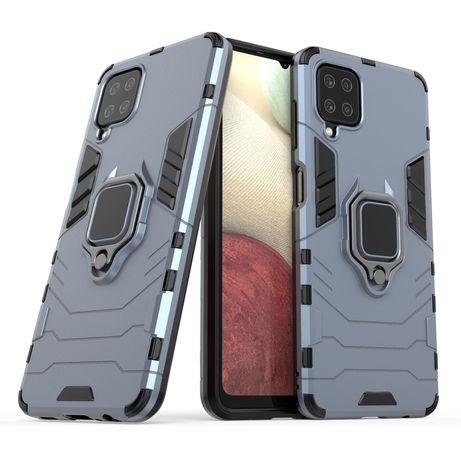 Capa Rígida/Semi Rígida Traseira Ring Case Kickstand Tough Rugged Cover Samsung Galaxy A12 / Galaxy M12 Azul