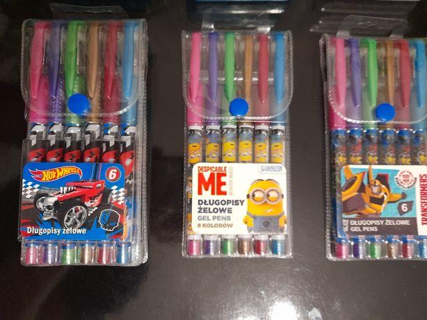Długopisy Żelowe 6 kolorów Licencjonowane Nowe