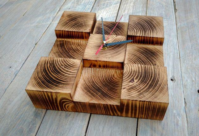 Часы из дерева для дома, часы из кубиков