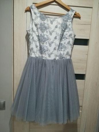 Sukienka z koronką wieczorowa, na wesele szara rozmiar M