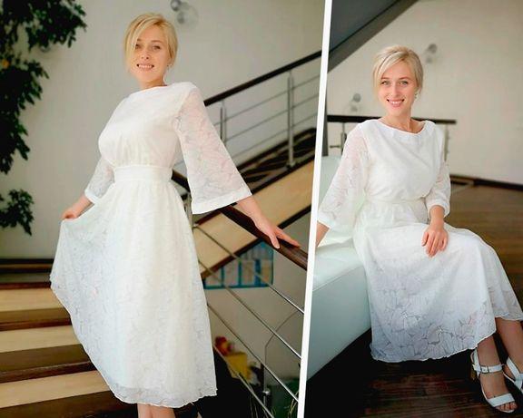 Белое нарядное платье миди с рукавом 3/4. Святкове біле плаття