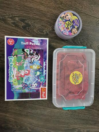 Piasek kinetyczny, książeczki dla  3  latków torebka