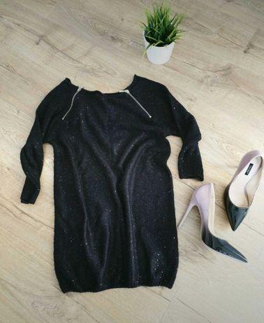 Piękny Reserved 38 sweter z cekinami czarny zlote zamki