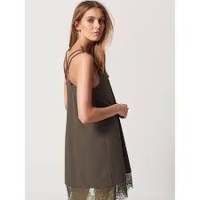 Bieliźniana sukienka tunika koronka mohito/le collet khaki s