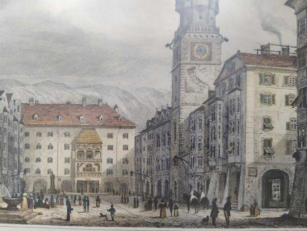 Grafiki z około 1830 roku Londyn i Innsbruck