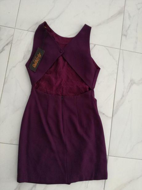 Nowa z metka Alchemy sukienka Bordowa mini wycięcia 38 M wesele