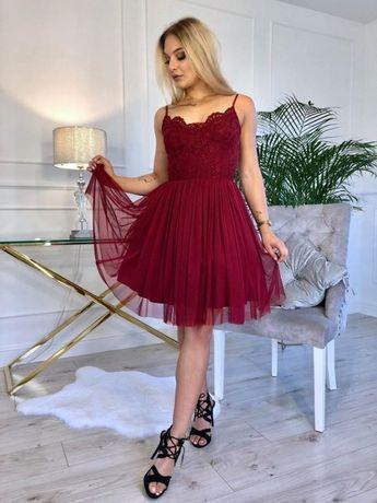 Bordowa sukienka midi rozmiar 38 firmy Małgorzata