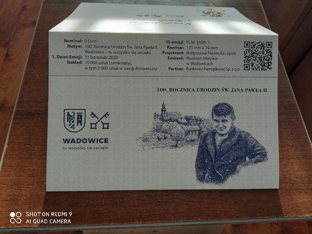 Banknot 0 euro Wadowice, 100 rocznica urodzin,PREMIUM nr 306