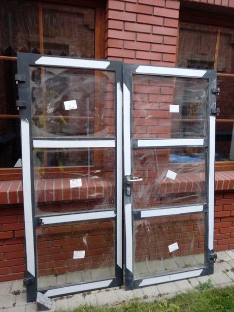 Drzwi aluminiowe dwuskrzydłowe wys.214 x szer. 195 nowe zimne.