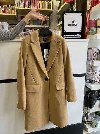 Пальто Zara (Зара) шерсть (беж и черное) Размеры: XS, S, M.