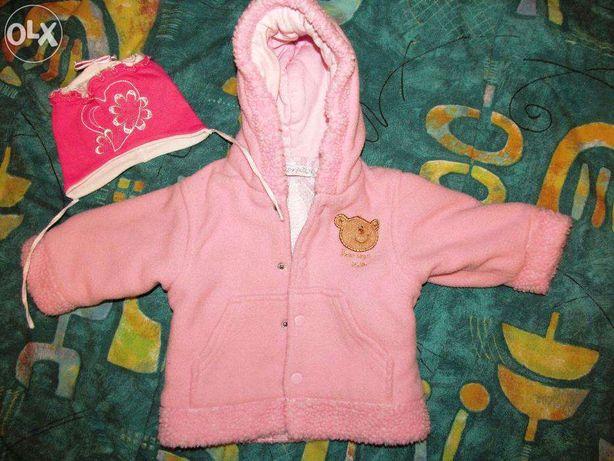 куртка на девочку и шапочка 3-6 месяцев (комплектом)