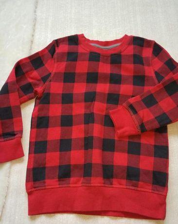 Яркий свитер в черно-красную клетку возраст 4-5 год длина 47 см ог 3