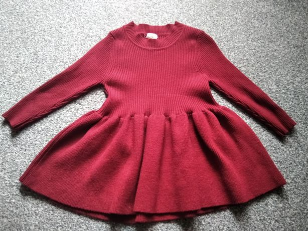 Sukienka dzianina ciepła bordo 2t/90/92