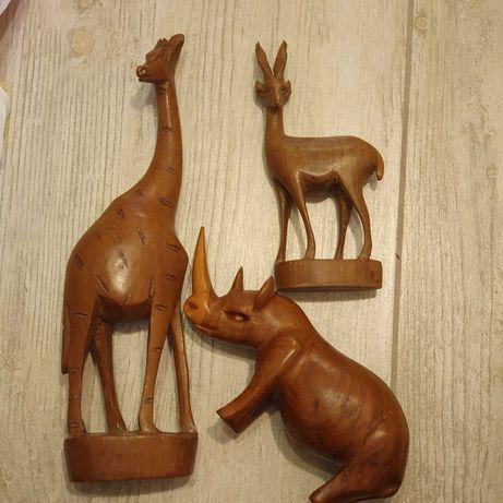 Figurki Drewniane Antylopa Żyrafa Nosorożec Safari Afryka Boho