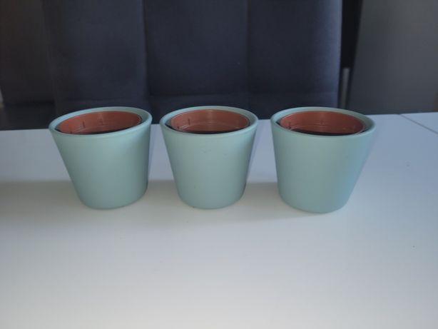 Doniczki 3 sztuki błękitne ikea