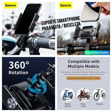 Suporte Smartphone para Mota / Bicicleta   -Baseus- Preto - 24h