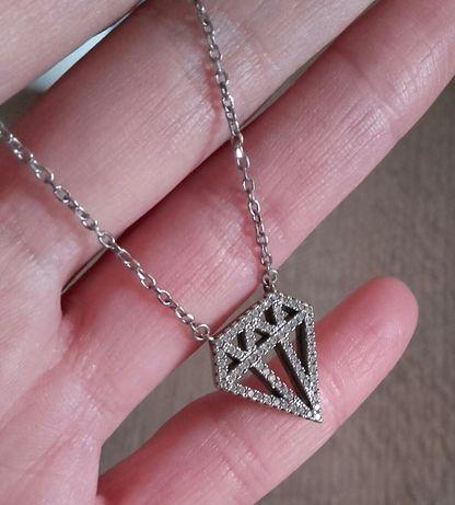 Celebrytka srebrny naszyjnik diament z cyrkoniami srebro
