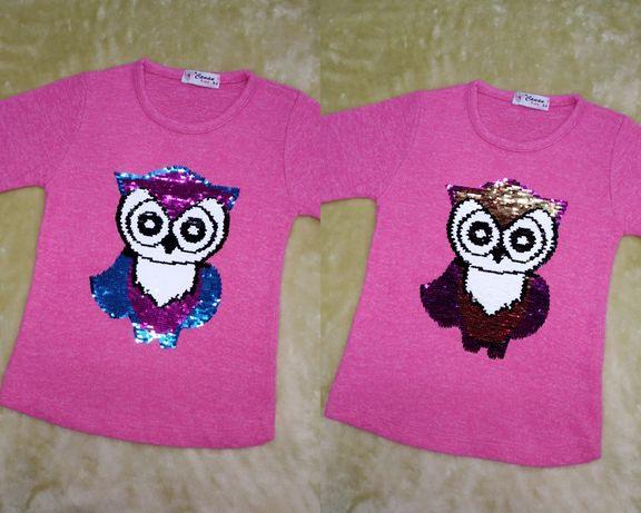 Bluzka sweterkowa 110/116 nowa, cekiny obracane sowa, różowa
