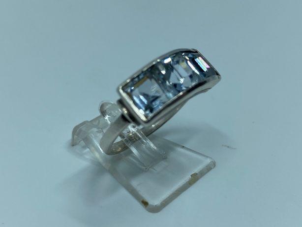 Antyk pierścionek z akwamarynami srebro próba 835