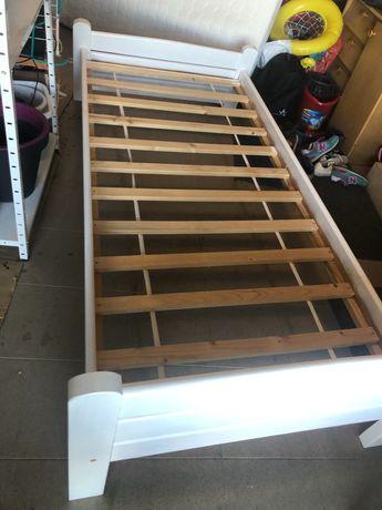 Łóżko 90/200 białe, drewno, materac