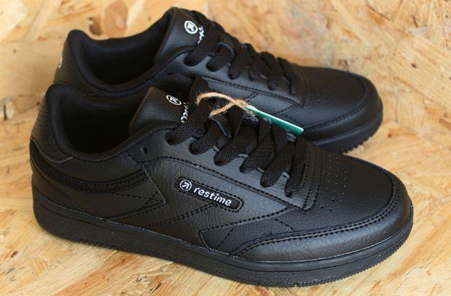 Кроссовки подростковые для мальчика черные кожаные кеды Restime
