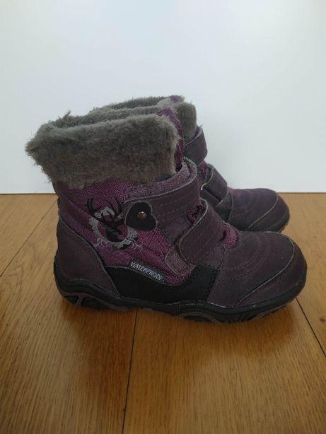 26 śniegowce buty buciki zimowe fioletowe wodoodporne futerko