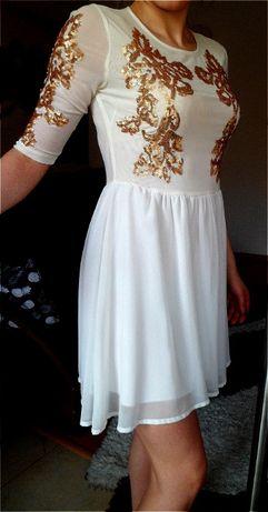 Sukienka biała z cekinami, XS,S
