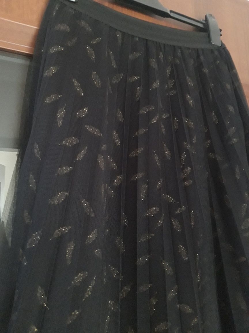 MOHITO nowa spódnica czarna tiul złoto 38 M