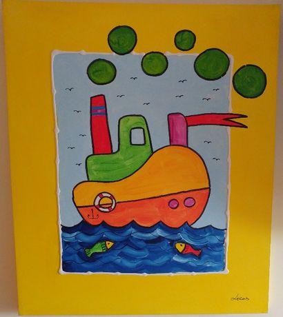 """Tela para Quarto Criança (Enorme: 95 x 81 x 4 cm) - """"Barco a Vapor"""""""