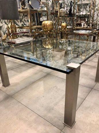Kawowy kwadratowy stolik design nikiel szczotkowany + grube szkło lata