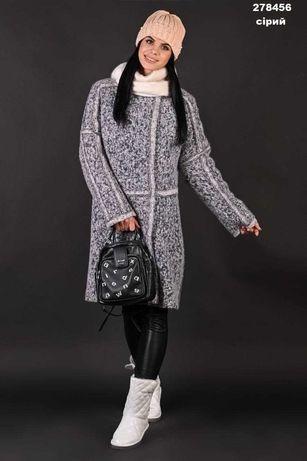 Пальто женское овчина серое