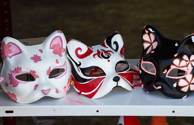 Маски японских демонов. Китцунэ. Нэко. Косплей маски.