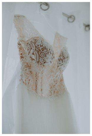 Suknia ślubna koronka tiul 36