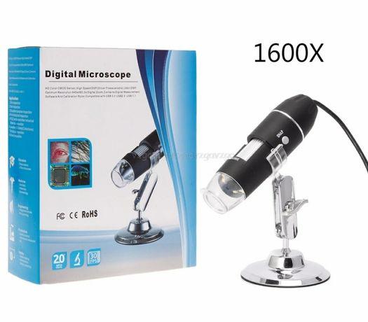 Электронный цифровой микроскоп USB 1600 крат на подставке .