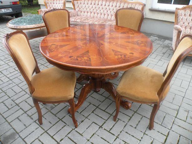 Intarsjowany stół i 4 krzesła w Stylu Ludwika