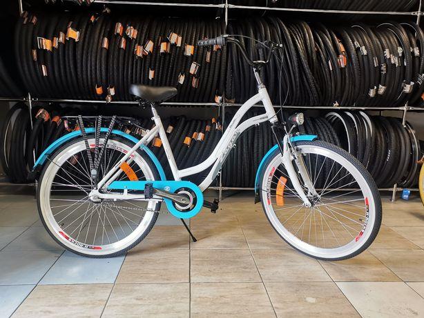 Rower miejski dla dziewczynki 26cali biało błękitny