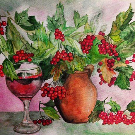 """Картина акварельная А3 формата, натюрморт """"Калиновое Вино""""!"""