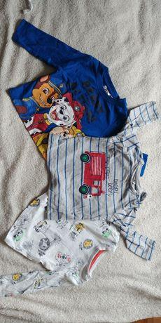 Cztery koszulki dla chłopca 68/74 Psi Patrol Disney Cool Club 5-10-15