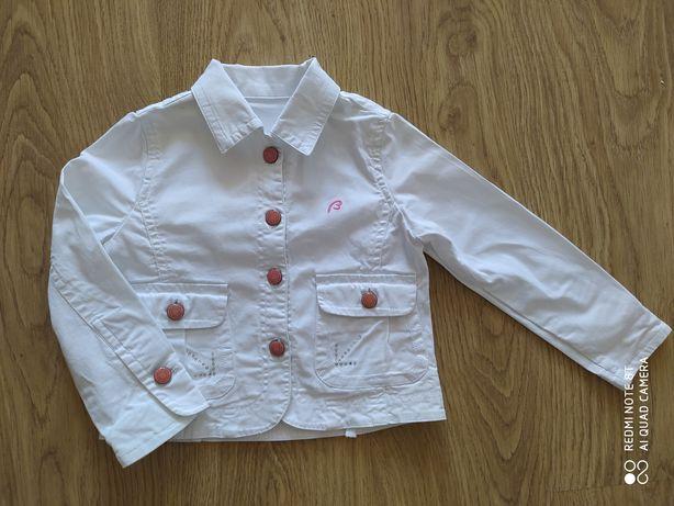 Kurtka biała jeans dziewczynka 4 lata