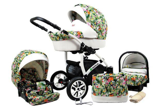 Baby Lux Tropical 3w1 - piękny wózek wielofunkcyjny